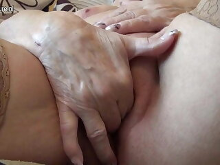 Very old German granny and her saggy tits