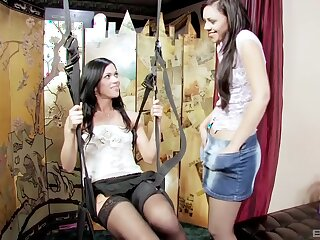 Kinky lesbo babes Alyssa Reece with an increment of her BFF have wild sex beyond the swing