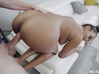 Fine jet cookie loads her precious cunt with a big colourless