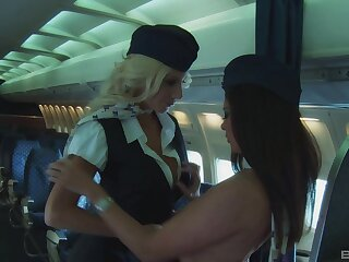 Morose lesbian fucking in a plane between Puma Swede and Linsey