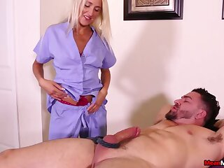Dick tugging by dirty tow-headed Misha Mynx makes the brush attendant cum