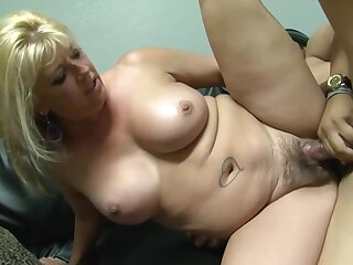 Plump blonde woman with tattoos and hairy pussy likes to have hardcore sex with various guys