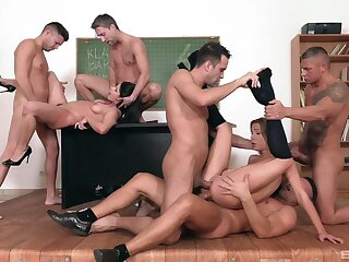 Thin babes tract and swap the men in glorious gangbang