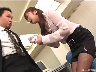 Hot ass Japanese amanuensis gets fucked hard from behind in a catch office